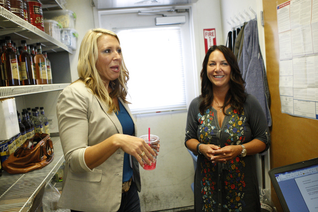 Mandy Holborow, left, and Sheri Price, co-owners of Umpqua Oats, are interviewed about their business at The Human Bean, 5265 Camino Al Norte, in North Las Vegas Friday, Sept. 19, 2014. The Human  ...