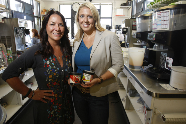 Sheri Price, left, and Mandy Holborow, co-owners of Umpqua Oats, pose for a portrait outside of The Human Bean, 5265 Camino Al Norte, in North Las Vegas Friday, Sept. 19, 2014. The Human Bean is o ...
