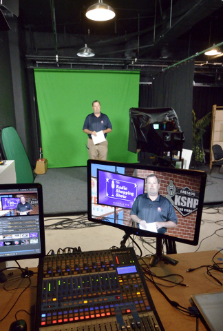 Brett Grant, owner of KSHP AM 1400, tapes a spot in the Vegas Video Co-op studio at 101 Convention Center Drive in Las Vegas on Monday, Sept. 15, 2014. Grant is one of the hosts for the Radio Shop ...