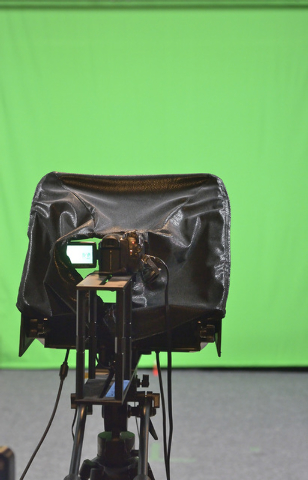 A video camera and green screen background are shown in the studio of the Vegas Video Co-op at 101 Convention Center Drive in Las Vegas on Monday, Sept. 15, 2014. The setup allows the producer of  ...