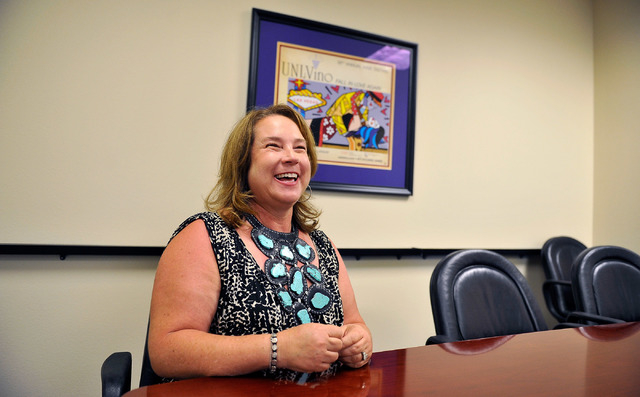 President Julie Gilday-Shaffer, of the JGS Group, speaks during an interview at her Summerlin office on Tuesday, Sept. 2, 2014. Gilday-Shaffer started her career as a copy machine sales person and ...