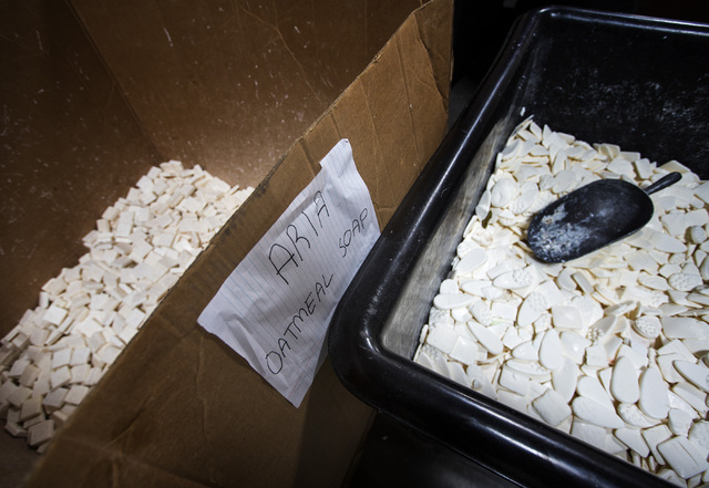 Bars of used soap at Global Soap Project at 3917 Lone Mountain Road in North Las Vegas as seen on Friday, Sept. 6, 2014. The nonprofit takes used bars of soap from local resorts and repurposes the ...