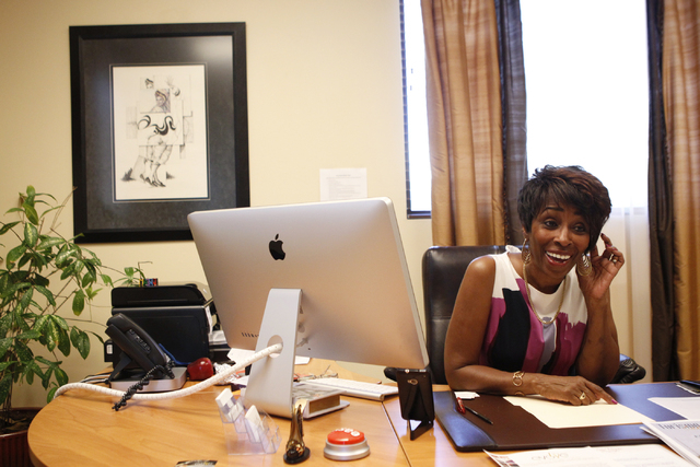 Mya Reyes, president of the Las Vegas Gay Visitors Bureau, is interviewed at her office in Las Vegas Wednesday, Sept. 17, 2014. Reyes is planning to host Evolve, an international gay New Year's Ev ...