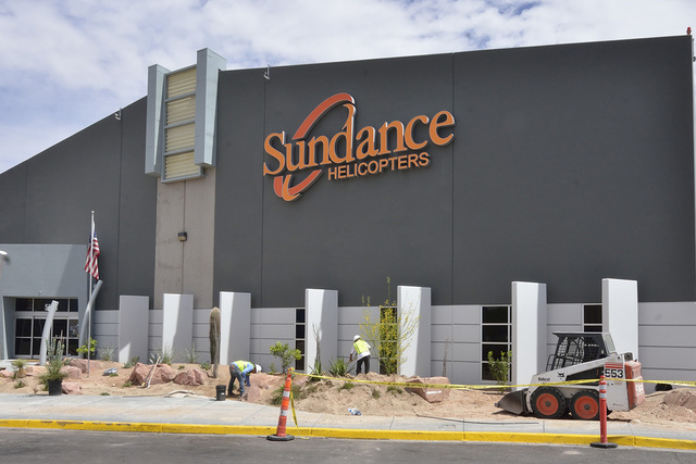 The exterior of the Sundance Helicopters terminal is shown at 5596 Haven St. in Las Vegas on Friday, April 11, 2014. (Bill Hughes/Las Vegas Review-Journal)