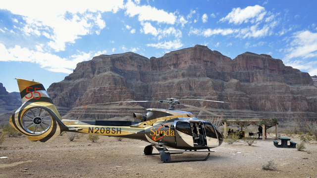 One of Sundance Helicopters' new EC130T2 Airbus helicopters is shown at the picnic site for a champagne lunch at the Grand Canyon on April 11. (Bill Hughes/Las Vegas Review-Journal)