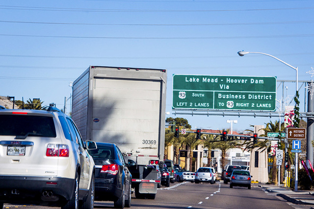 Traffic along Highway U.S. 93 is seen in Boulder City on Dec. 27, 2013. A state panel has settled an eminent domain dispute over land the state needs for the first phase of the Boulder City Bypass ...