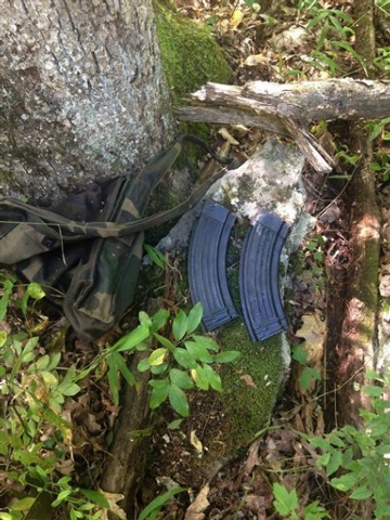 An undated photo provided by the Pennsylvania State Police shows what they say are magazines for an AK-47-style assault rifle that they have recovered from the woods in the manhunt for Eric Frein, ...