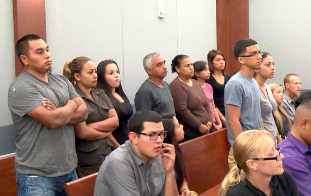 Friends and family of Wendy Carrion, the woman who was behind the wheel in a crash that killed her 9-year-old niece, appeared in court to support her release, Tuesday, Sept. 2, 2014. (Michael Quin ...