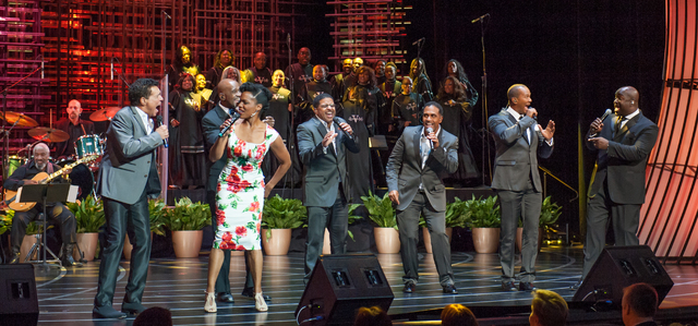 """Clint Holmes, Nnenna Freelon and Take 6 perform """"What'd I Say"""" in """"Georgia On My Mind."""" (Courtesy)"""