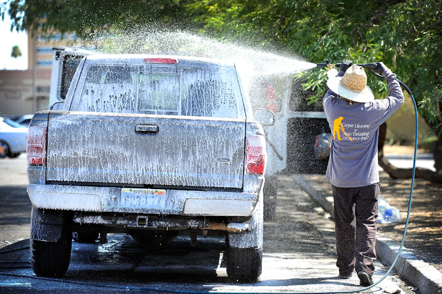 Vegas car wash regs upset mobile operators las vegas review journal a mobile car wash detailer who refused to give his name washes a vehicle solutioingenieria Choice Image