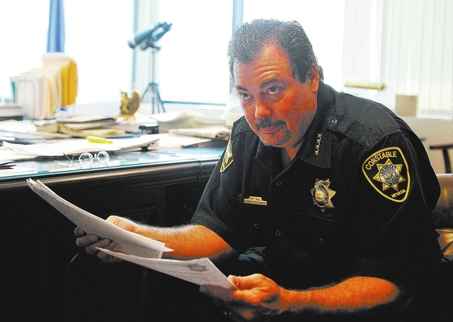 Las Vegas Township Constable John Bonaventura looks on during an interview in his downtown Las Vegas office on Tuesday, May 27, 2014. Clark County recently replaced computers in the constable's of ...