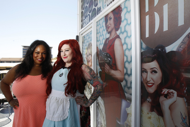 Blowout Dollhouse salon owner Latoya Holman, left, and manager Ashley Carvolo, pose for a portrait outside of their shop at the Container Park in Las Vegas Thursday, Aug. 28, 2014. Blowout Dollhou ...