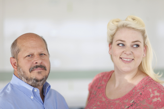Dan Adams, left, food and beverage operation's manager, and Rachel Doyle, assistant manager, pose for a portrait at The Perch restaurant at the Container Park in Las Vegas Thursday, Aug. 28, 2014. ...