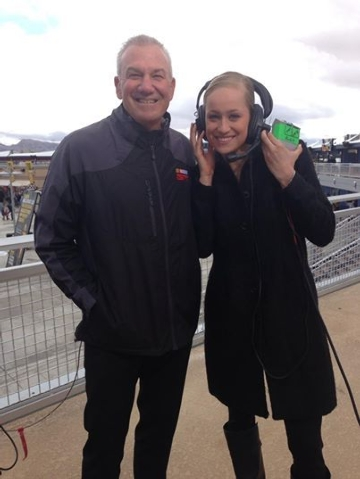 Christina Jones, right, stands with Dale Jarret, sports commentator and former NASCAR driver, during a NASCAR event in Las Vegas. Jones, 26, was recently named one of 14 recipients of the Tony and ...