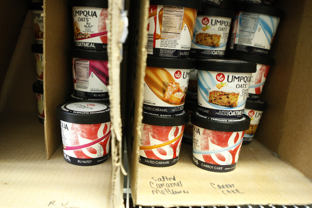 Umpqua Oats that include jackpot, kick start, and mostly sunny, are seen in the inventory at The Human Bean, 5265 Camino Al Norte, in North Las Vegas Friday, Sept. 19, 2014. The Human Bean is one  ...