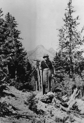 Las Vegas pioneer J. T. McWilliams poses for a photograph while surveying his property in Lee Canyon, circa 1936.  (UNLV Special Collections)