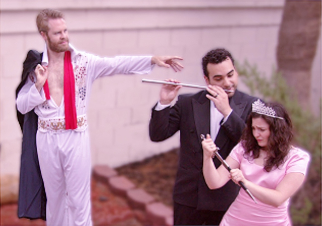 """Nathan van Arsdale, Athena Mertes and Alex Mendoza star in Sin City Opera's contemporary take on Mozart's """"The Magic Flute"""" titled """"The Magic Flute on Fremont."""" The Zappos-sponsored free product ..."""