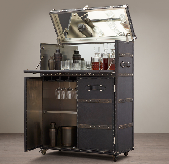 Mayfair bar carts are regaining popularity in homes. (Courtesy, Restoration Hardware)