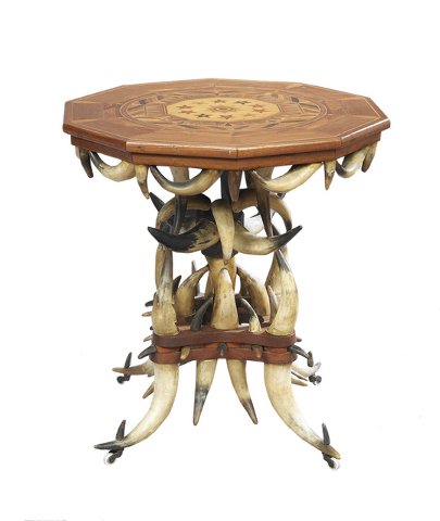 This remarkable table, made of horns in 1892, is signed W. H. T. Ehle on the - Interest In Antique Horn Furniture Arises Anew Las Vegas Review
