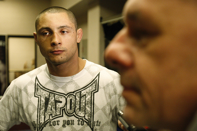 Ultimate Fighting Championship fighter Thiago Silva speaks with members of the media during an interview at the MGM Grand hotel-casino on Thursday, Jan. 29, 2009, in Las Vegas. (JOHN LOCHER/LAS VE ...