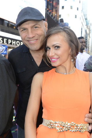 "Randy Couture and his partner, Karina Smirnoff, are shown Thursday outside ""Good Morning America's"" New York studios. (ABC/Ida Mae Astute/ABC)"