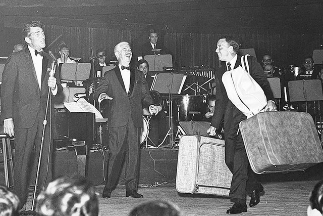 Dean Martin, left, Sands Showroom Orchestra conductor Antonio Morelli and Frank Sinatra cut up at the Copa Room. (Courtesy/UNLV Special Collections)