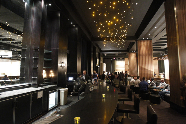 Franklin Lounge at Delano Las Vegas hotel in Las Vegas is seen during a tour Friday, Aug. 29, 2014. The hotel scheduled their official reopening Tuesday, Sept. 2, after an $80 million renovation o ...
