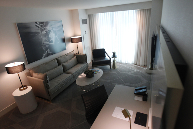 The living room inside a king suite at Delano Las Vegas hotel in Las Vegas is seen during a tour Friday, Aug. 29, 2014. The hotel scheduled their official reopening Tuesday, Sept. 2, after an $80  ...
