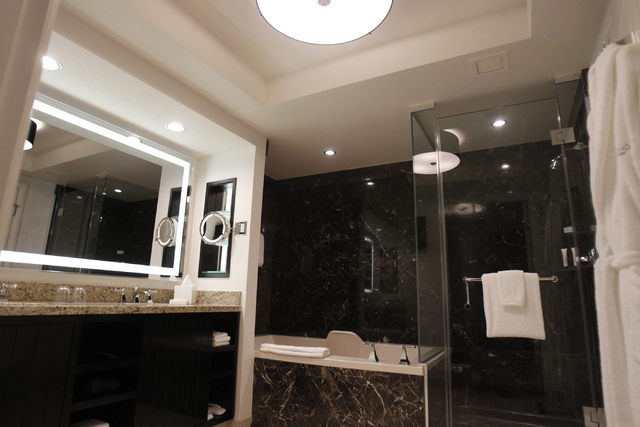 The bathroom inside a king suite at Delano Las Vegas hotel in Las Vegas is seen during a tour Friday, Aug. 29, 2014. The hotel scheduled their official reopening Tuesday, Sept. 2, after an $80 mil ...