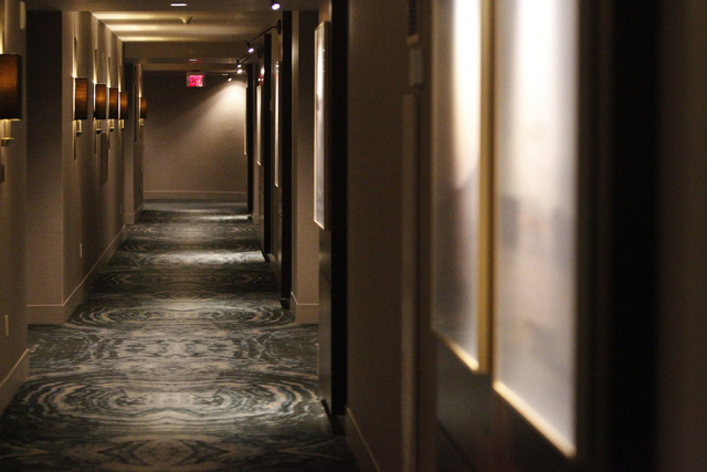 A hallway to guest rooms inside Delano Las Vegas hotel in Las Vegas is seen during a tour Friday, Aug. 29, 2014. The hotel scheduled their official reopening Tuesday, Sept. 2, after an $80 million ...