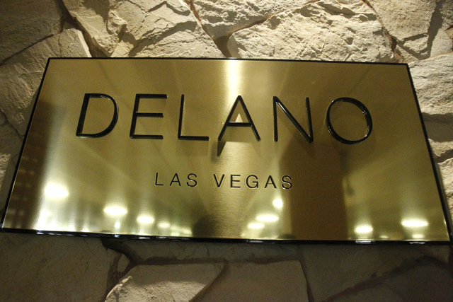 A  Delano Las Vegas sign is seen at their main entrance during a tour Friday, Aug. 29, 2014. The hotel scheduled their official reopening Tuesday, Sept. 2, after an $80 million renovation of their ...