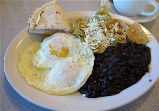A plate of Chilaquiles is displayed at Harry's Roadhouse, in Santa Fe, N.M., a diner that is a favorite among locals. (AP Photo/Jeri Clausing)