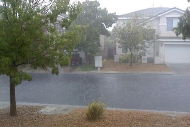 Rain falls near Crestdale Lane and Hualapai Way in Summerlin around 12:30 p.m. on September 7, 2014. (Courtesy, Dale DeSilva/Submitted using the RJ app's At the Scene feature)