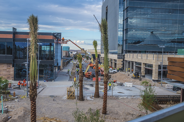 Downtown Summerlin construction is seen in July 2014. The project is set to open Oct. 9, and a slew of new stores and restaurants were recently announced. (Special to View)