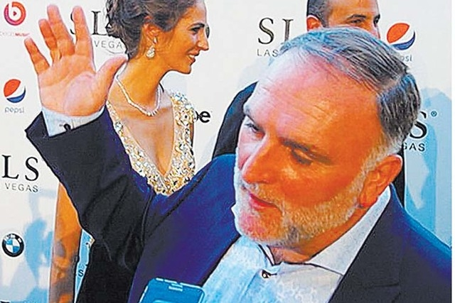 Chef Jose Andres on the red carpet at the opening of SLS Las Vegas. (Norm Clarke/Review-Journal)