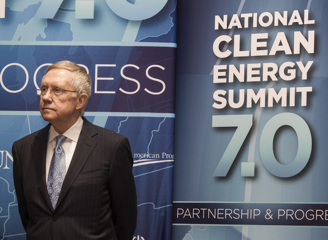 Senate Majority Leader Harry Reid s during a press conference Thursday, Sept. 4, 2014 announcing  the Fulcrum BioEnergy Inc. Sierra BioFuels project  during National Clean Energy Summit 7.0: Partn ...