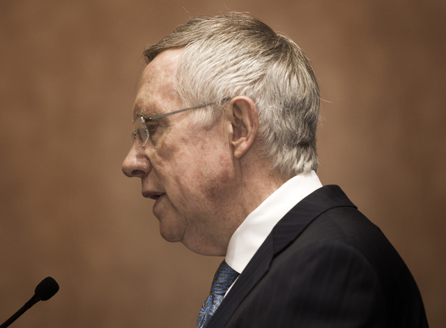 Senate Majority Leader Harry Reid speaks during a press conference, Sept. 4, 2014. On Monday, Sept. 15, Reid claimed a bit of credit for pushing energy policies in Congress that led to electric ca ...