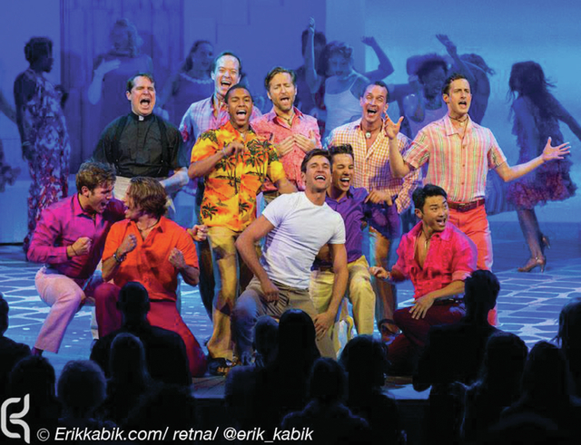 """Jordan Bondurant, wearing a white T-shirt, performs during opening night of """"Mamma Mia!"""" on May 16 at the Tropicana. The recent UNLV graduate is scheduled to appear in an off-Broadway play. (S ..."""