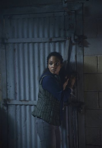 """In this undated photo released by Fox, Lyndie Greenwood as Jenny escapes certain death in the """"Hellfire"""" second season premiere episode of """"Sleepy Hollow,"""" which broadcast Mond ..."""