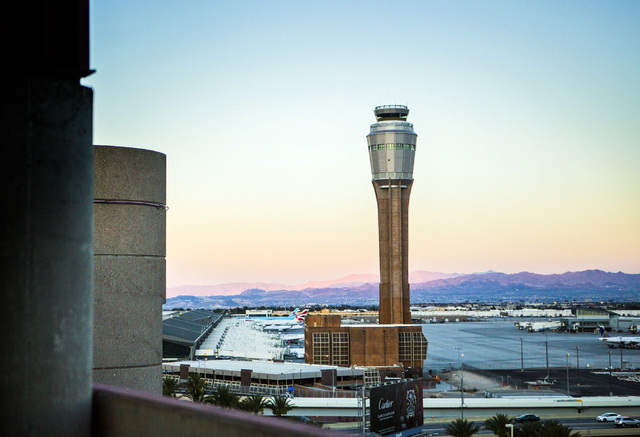 The FAA tower as seen Wednesday, Aug, 6, 2014 under construction at McCarran International Airport. A private plane made an emergency landing at McCarran International Airport, Thursday, Sept. 11, ...