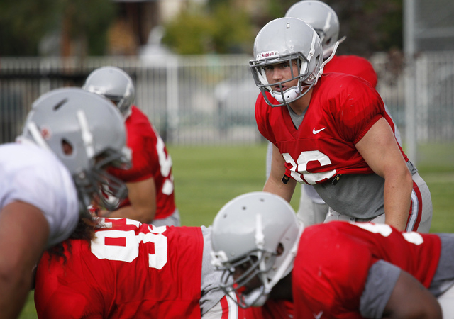 Linebacker Marc Philippi (36) analyzes the offensive formation while participating in a team scrimmage during UNLV's training camp up in Ely on Aug. 12, 2014. (Jason Bean/Las Vegas Review-Journal)