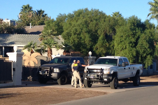 The FBI served a search warrant at the home of rapper Mally Mall in southeast Las Vegas on Monday morning. (Chase Stevens/Las Vegas Review-Journal)