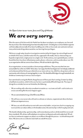 "The Atlanta Hawks have released an open letter of apology to the team, fans and city of Atlanta, saying the organization ""did not do the right thing"" to correct racially inflammatory words and ..."