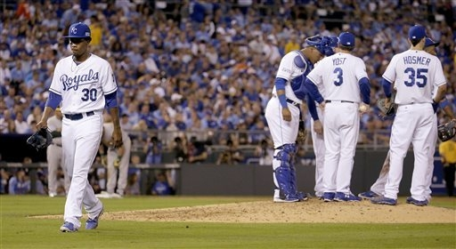 Kansas City Royals pitcher Yordano Ventura (30) comes out of the game during the sixth inning of the AL wild-card playoff baseball game against the Oakland Athletics Tuesday, Sept. 30, 2014, in Ka ...