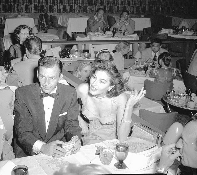 Singer Frank Sinatra is seen at a Las Vegas nightspot where he opened a two-week engagement, with new love interest, actress Ava Gardner, Sept. 4, 1951. (AP Photo)