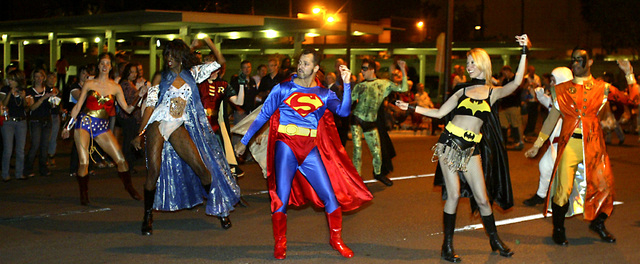 Participants dressed as superheroes dance during the Gay Pride Parade in downtown Las Vegas on Friday night, May 2, 2008. (Ralph Fountain/Las Vegas Review-Journal file photo)