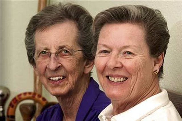 This undated file image provided by Lambda Legal shows plaintiffs Beverly Sevcik, 73, right, and Mary Baranovich, 76. A gay rights advocacy group is appealing a federal judges ruling that upheld N ...