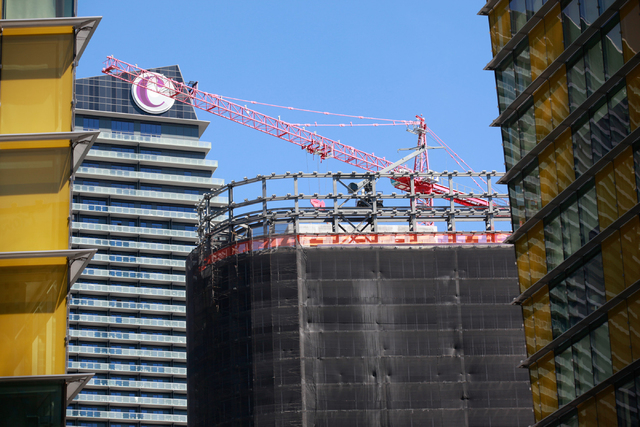 Construction crews work on demolishing the unfinished Harmon Hotel at CityCenter in Las Vegas on Monday, Sept. 22, 2014. The building is being taken down because it was found to be unsafe by offic ...