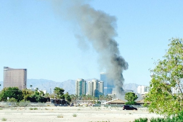 A fire burns near the UNLV campus on Wednesday. (Jordan Haas/Special to the Las Vegas Review-Journal)