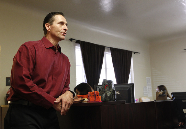 Toby Tobiasson, the private investigator who obtained material that proved Patrick Harper did not commit a murder he was charged with, stands in Harper's lawyer's office in downtown Las Vegas on W ...